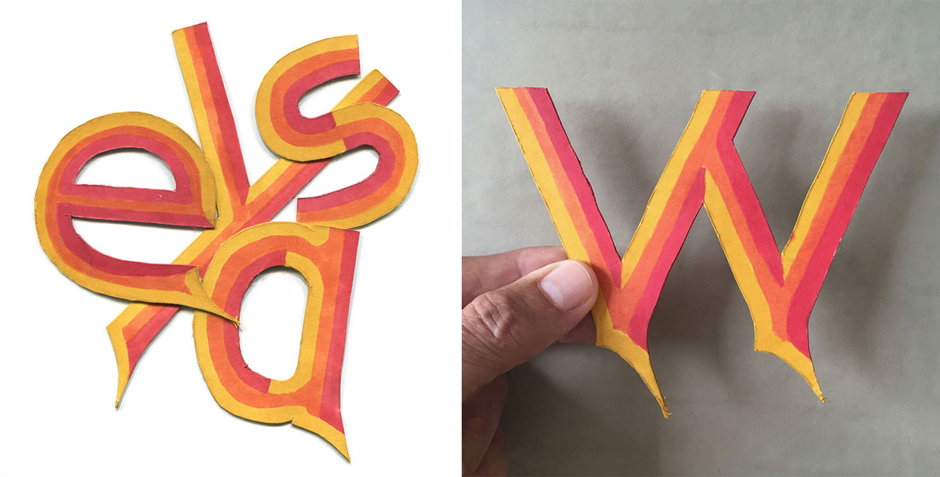 Diptych showing early cut-out lettering efforts by Greg Thompson