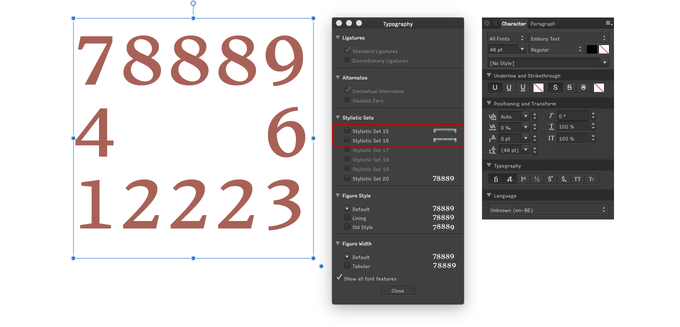 Typing a border with Embury text in Affinity Designer