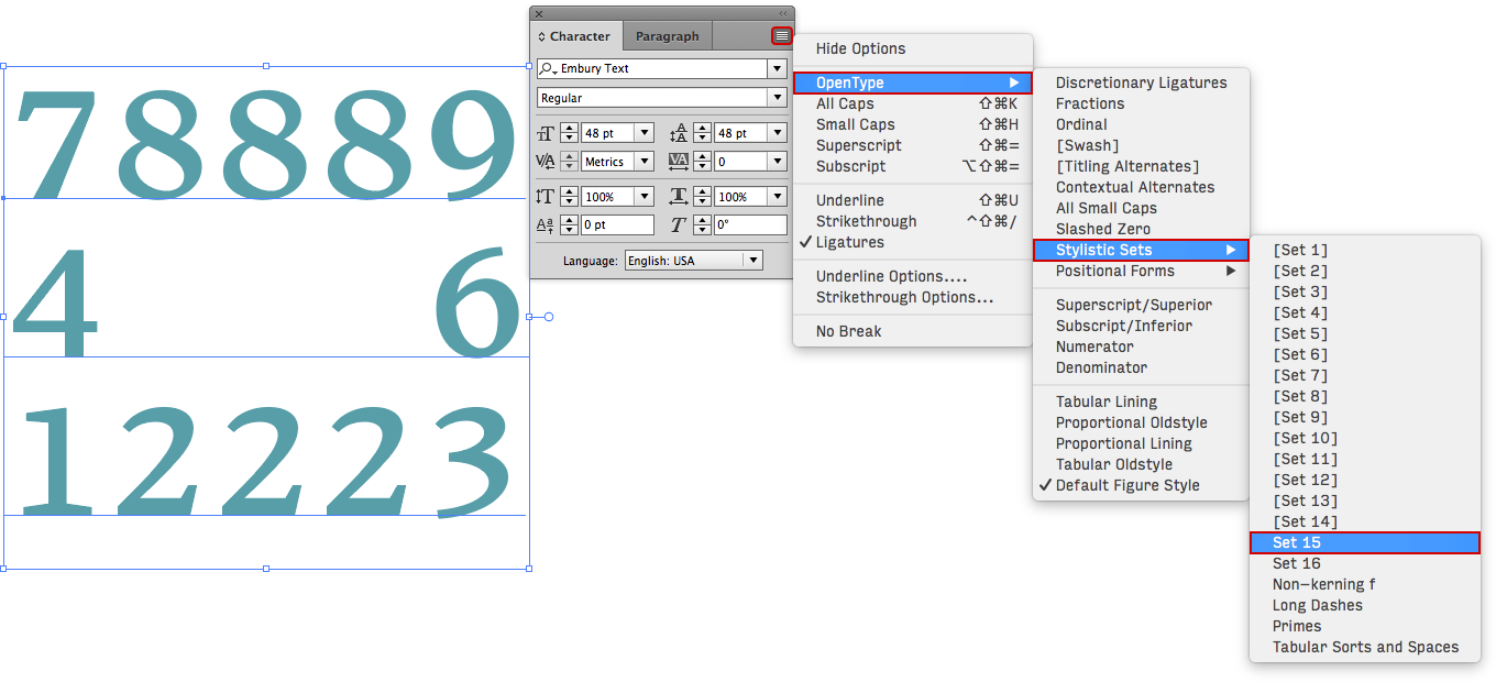 Typing a border with Embury text in Adobe InDesign
