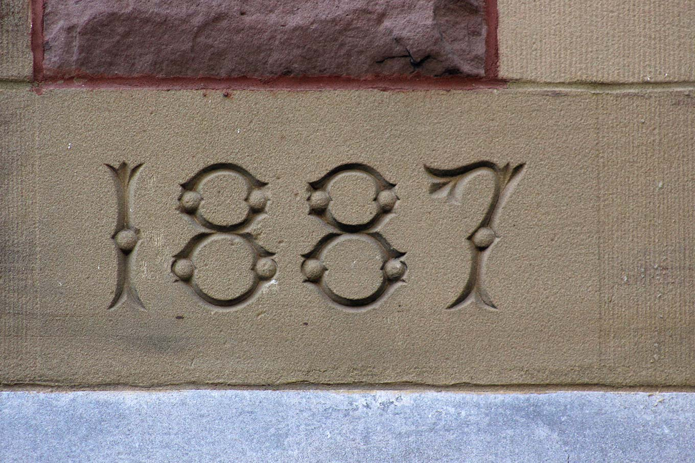 Decorative figures on the cornerstone of St. James United Church on the rue Ste-Catherine