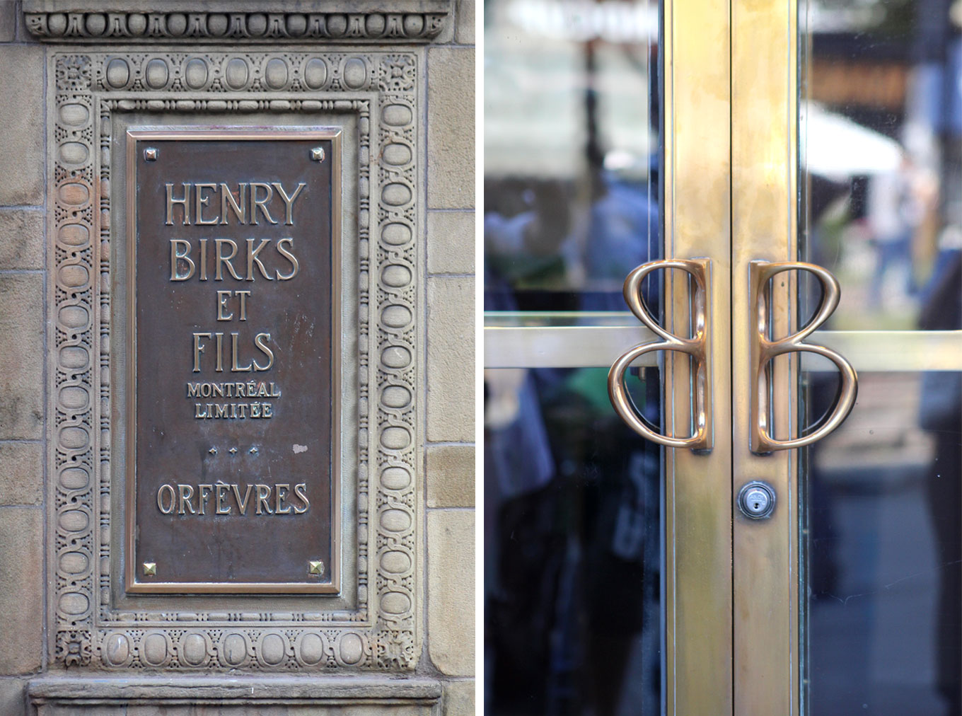 Two images of Birks Department Store. Left: a bronze inscription plate. Right: branded brass door handles.
