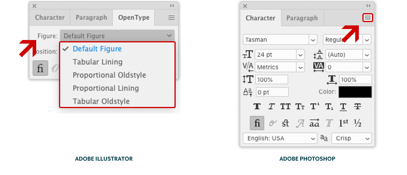 Screenshot showing the location of the different figure styles in Adobe Illustrator CC (left) and Photoshop CC (right).