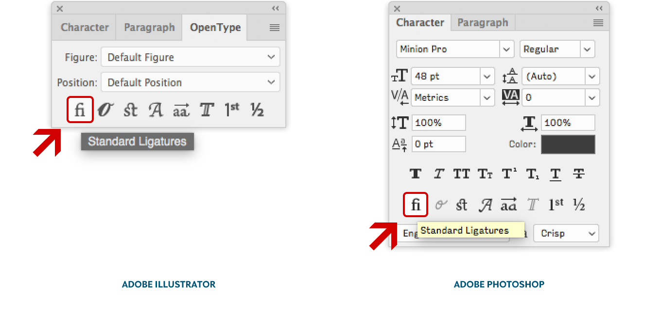 Location of the OpenType feature Standard Ligatures in Adobe Illustrator CC and Photoshop CC