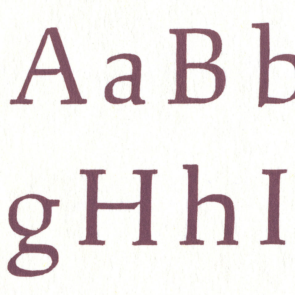 Detail of Plate 1 of Rudolph Ruzicka's Studies in Type Design showing some of the painted letters