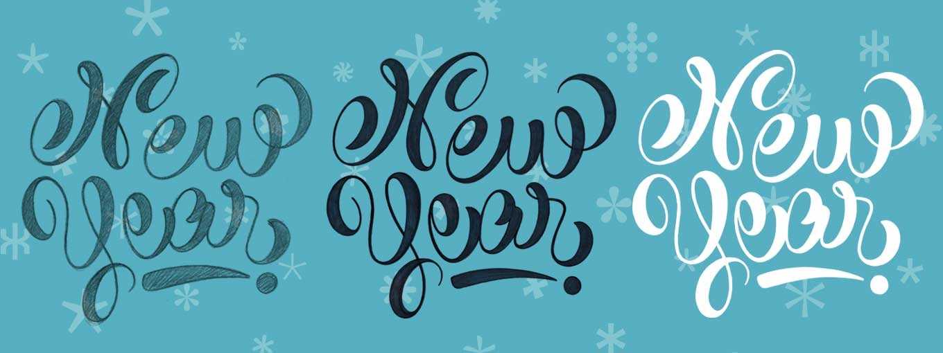 "The different stages in the creation of the hand-lettered ""New Year"" by Marina Chaccur"