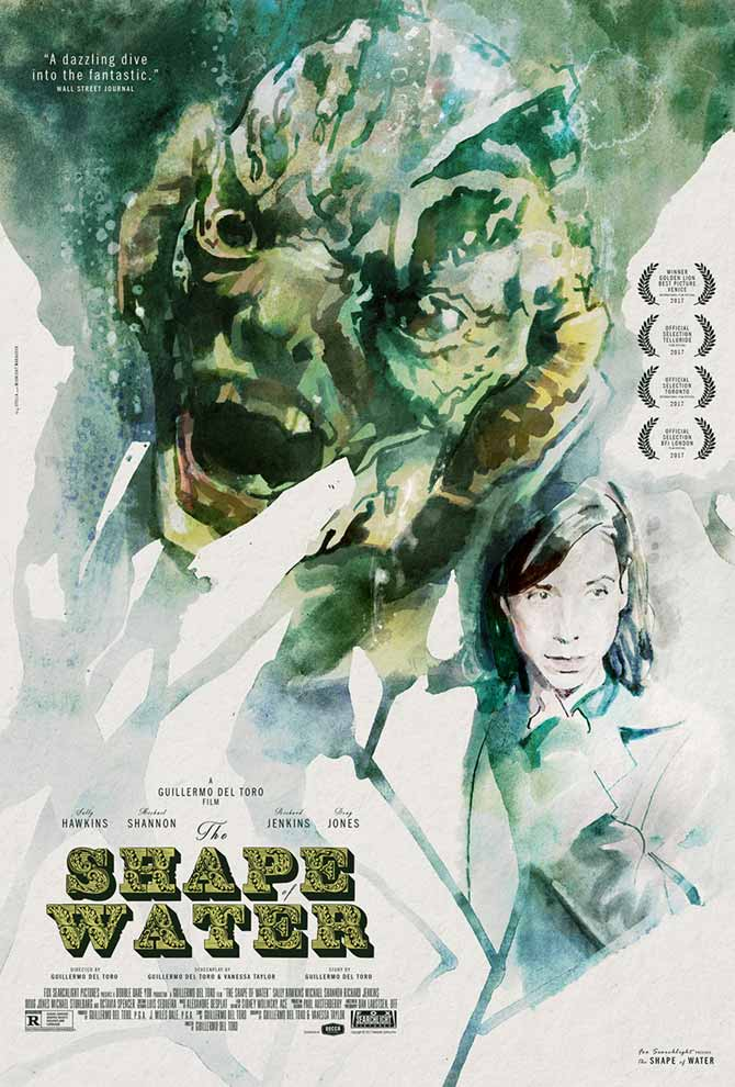 Midnight Marauder's alternate poster for The Shape of Water with painted art by Tony Stella